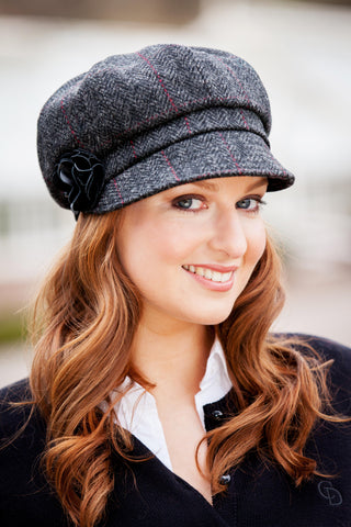 Womens Charcoal Plaid Newsboy Hat