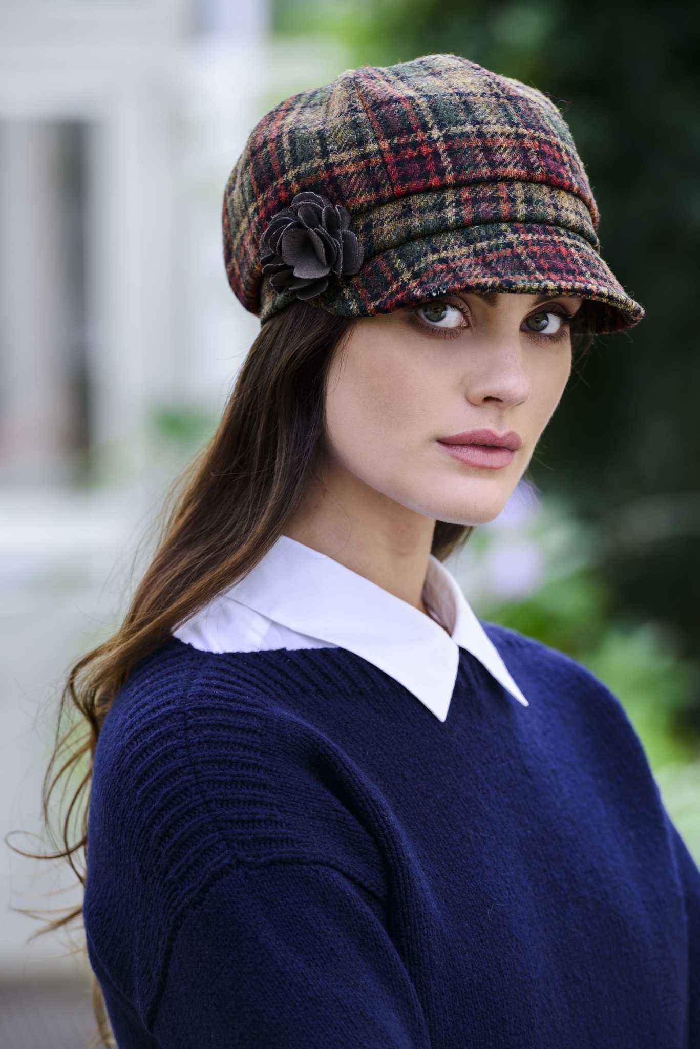 Muckros Weavers Newsboy Hat Brown Check at Arans of Ireland