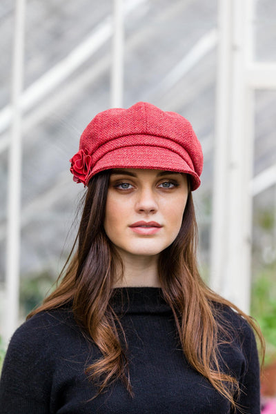 Womens Red Tweed Newsboy Hat