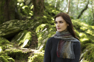 Muckros Weavers Skellig Scarf Black Red Mix