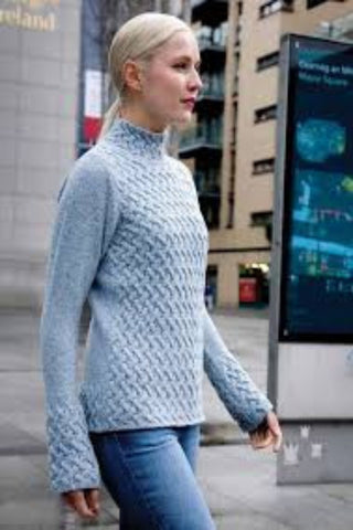 Trelis Aran Sweater Sky Blue