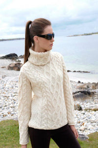 Turtleneck Aran Sweater Natural