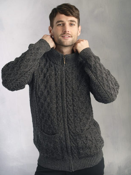 Zip Aran Cardigan with pockets charcoal