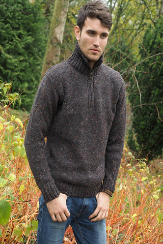 Donegal half zip Aran sweater