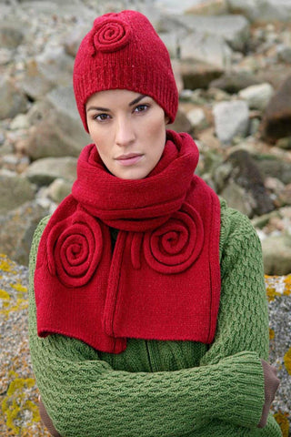 Aran Celtic Swirl Hat and Scarf Set Warm Red