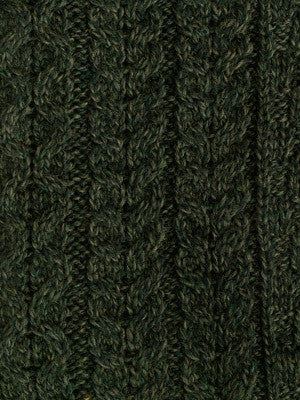 Aran Sweater Crew neck with tweed detail Army Green
