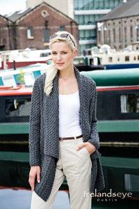 Aran waterfall Cardigan steel marl