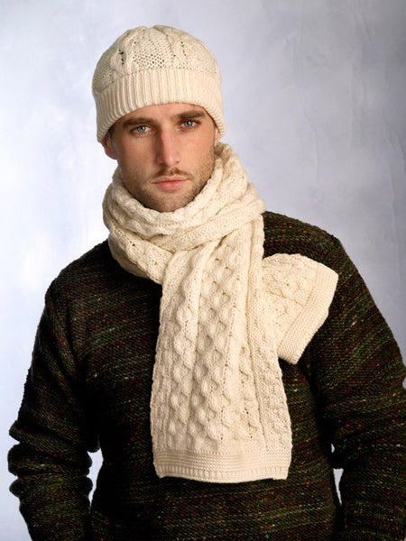 Traditional Honeycomb Merino wool Hat and Scarf Set Natural