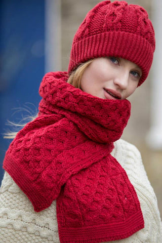 Traditional Irish Aran Honeycomb Merino wool Hat and Scarf Set Cherry