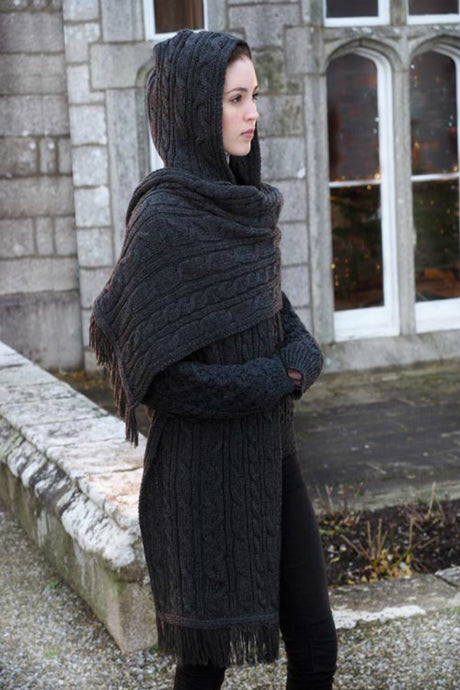 Traditional Aran Cable hooded wrap