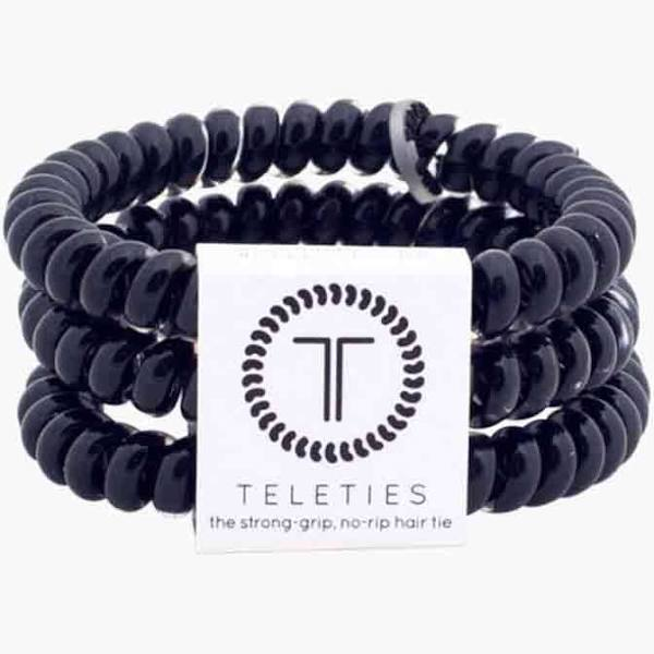 Teleties Jet Black Hair Ties Fabric Online Salon