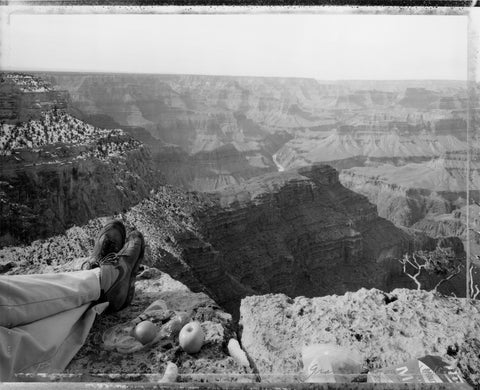 Mark Klett, Picnic on the edge of the rim, Grand Canyon, 2/12/83