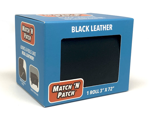 (NEW PRODUCT!) 3 Inch X 72 Inch Self-Adhesive Leather Repair Tape, Black