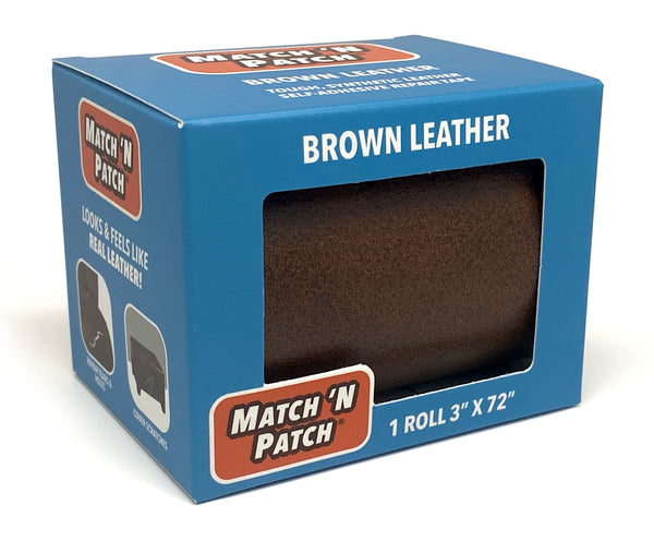 (NEW PRODUCT!) 3 inch x 72 inch Self-Adhesive Leather Repair Tape, Brown
