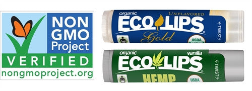 Eco Lips GOLD and HEMP Lip Balms now Non-GMO Project Verified