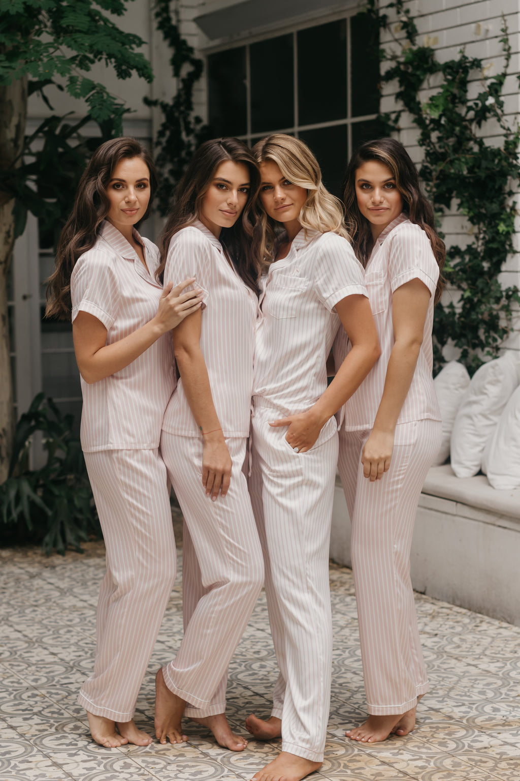 Hayley Blushing Stripe Satin PJ Set - lerose AU