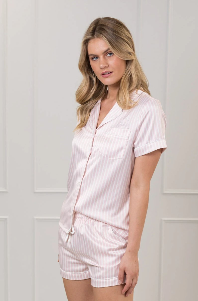 Bridgette Blushing Stripe Satin PJ Set