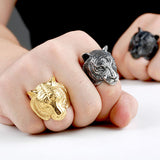 Tiger Skull Ring - Gold