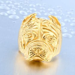 British Bulldog Skull Ring - Gold