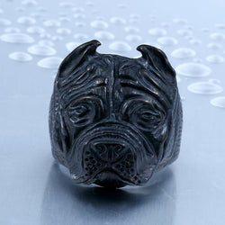 British Bulldog Skull Ring - Black