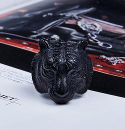 Tiger Skull Ring - Black
