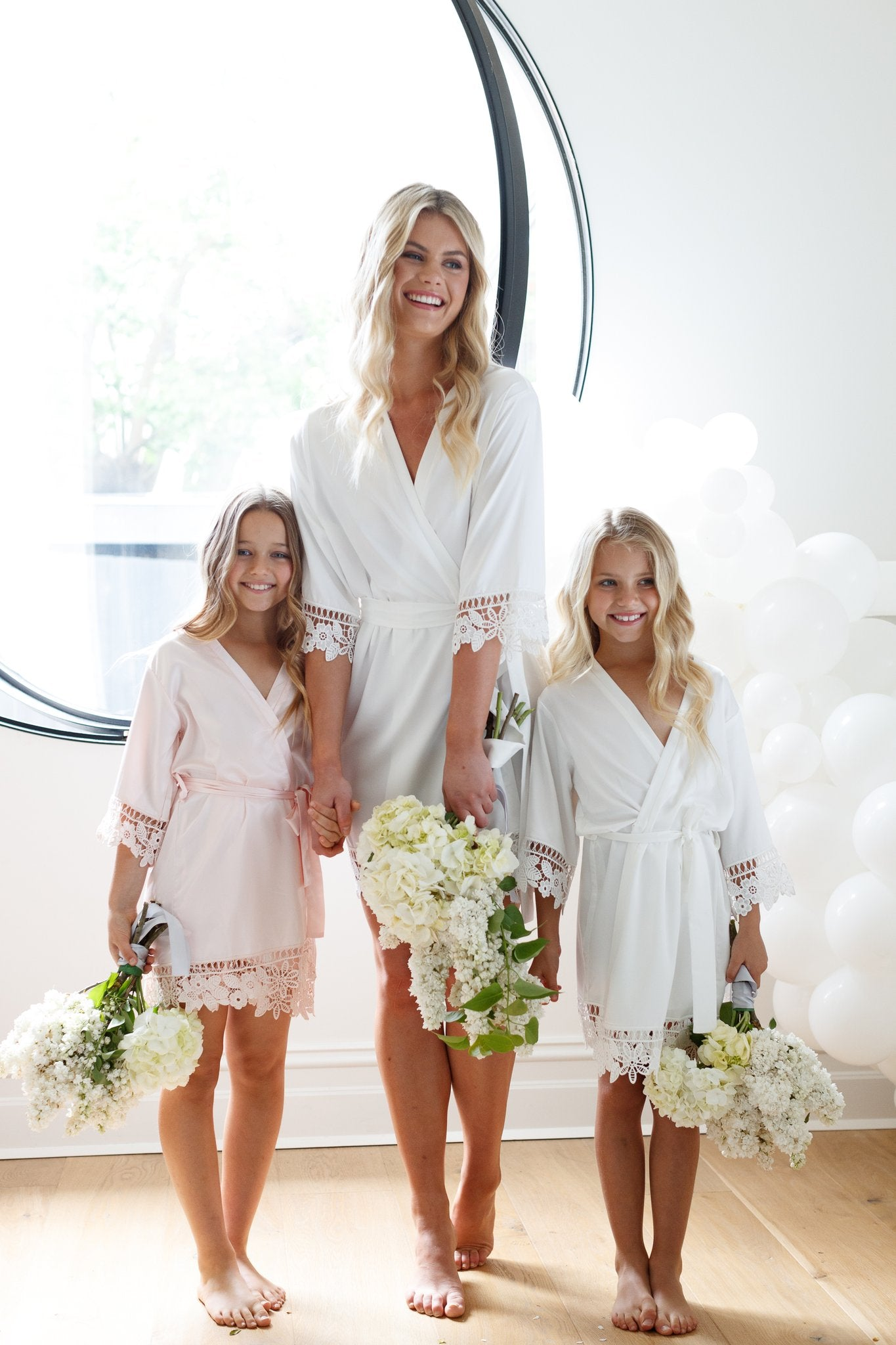 Lauren Lace Satin Flower Girl Robe