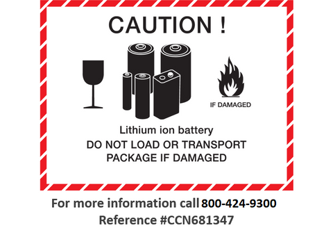 Lithium ion battery dangerous goods shipping label