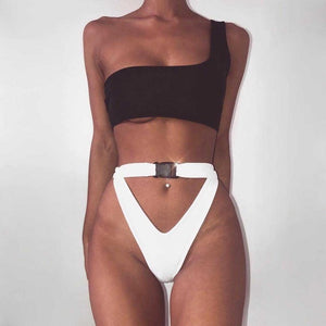Off Shoulder Buckle Bikini