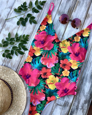 Deep V Hibiscus One Piece