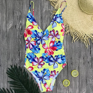 Deep V Yellow Floral One Piece