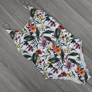 O-Neck Floral Leaves One Piece