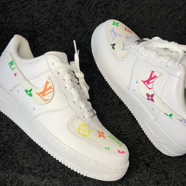 LV Rainbow Inspired Air Force 1 White
