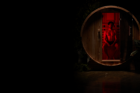 infrared sauna with red backlight