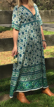 Folk Print Santorini Sundress Teal and Blue -Last one Small
