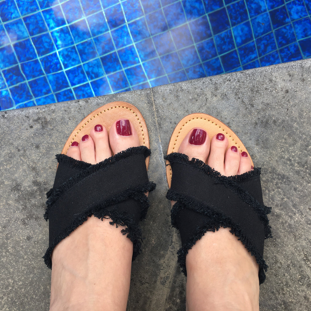 Cross Over Frayed Slides Black -Last pair 39
