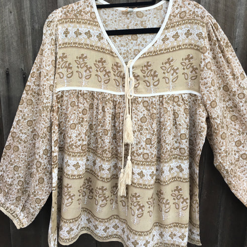 Blouse Folk Print Indian Rayon Wheat -Last 1 Left L