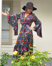 Eclectic Bohemian Midnight Floral Waterfall Wrap Dress - Last 1 each SM, ML