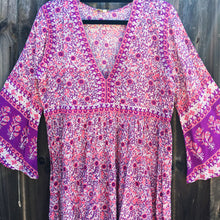 Festival Folk Print Dress Fuschia Purple
