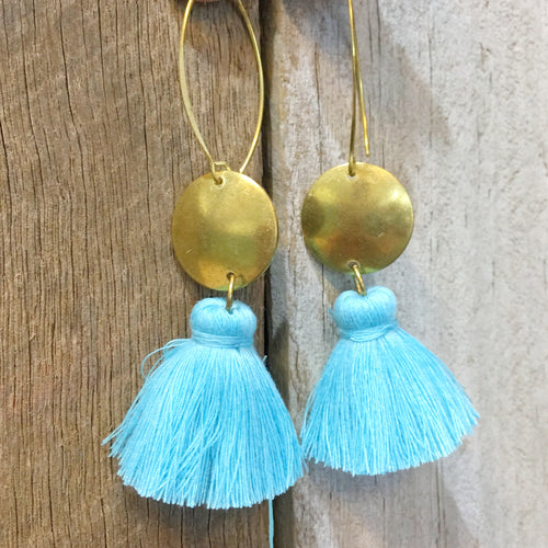 Earrings Large Tassel Light Blue