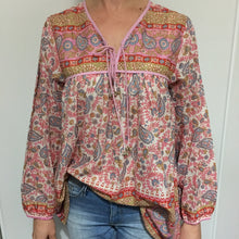 Blouse Paisley Cotton Pink with Tassels