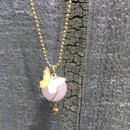 Necklace Butterfly in Rose Quartz Brass Handmade