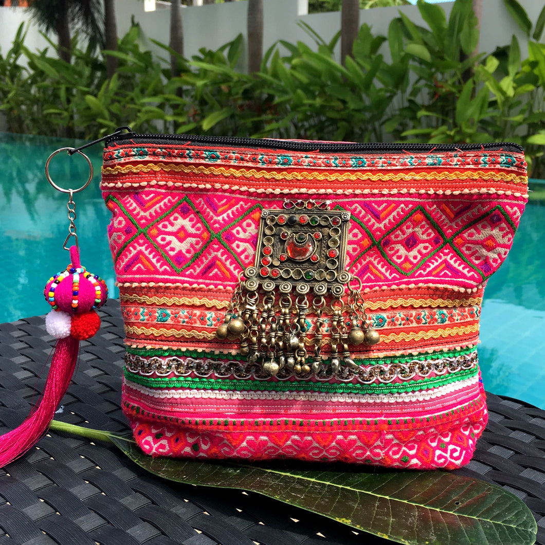 Chiang Mai Clutch with Afghani Jewels and Pompom