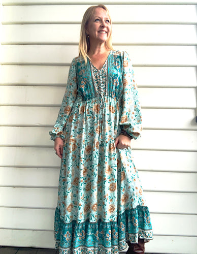Bianca Boho Maxidress in Mint - Last 1 in each size