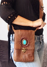 Leather Rectangular Handmade Handbag  with Turquoise Stone