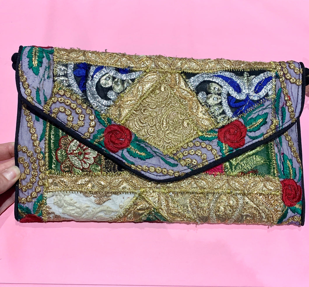 Purse Gold Embellished Lace Black Trim