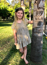Bohemian Princess Mini Me Girls Dress Latte Leopard