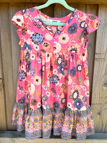 Bohemian Princess Mini Me Girls Dress - Coral Pink Floral