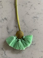 Necklace Long with Green Tassel, on Mint Suede Strap