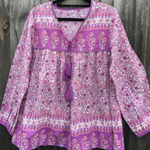 Blouse Folk Print Indian Cotton Fuschia Purple