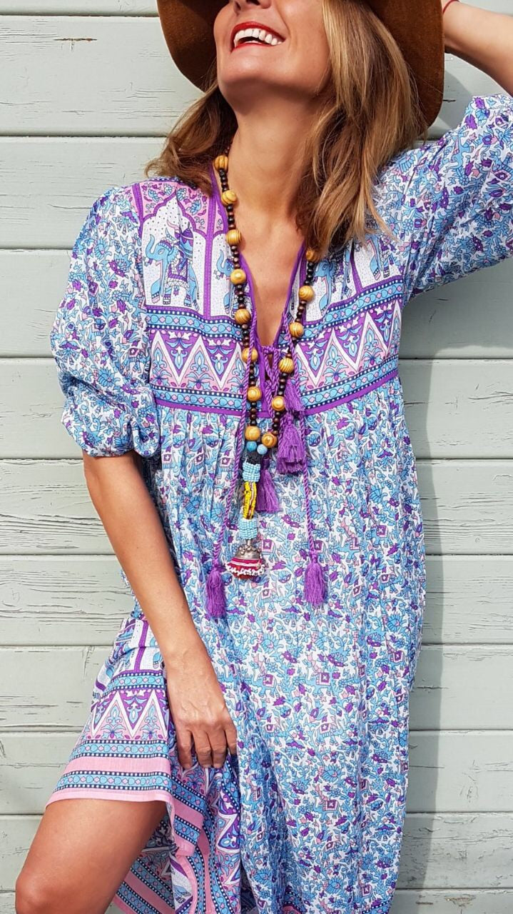 Folk Print Indian Cotton Gauze Dress Turquoise and Purple